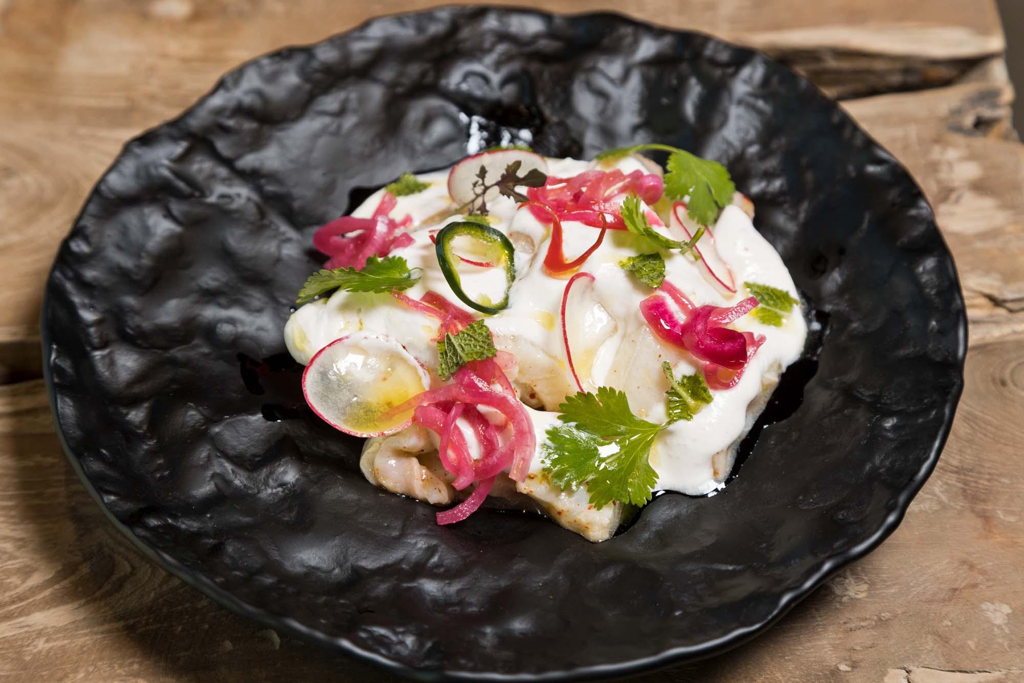 Tiradito de peix llimona amb xili fresc
